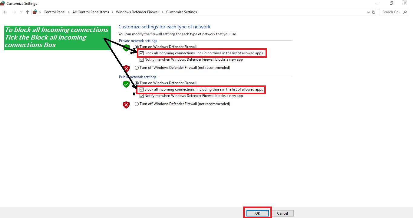Windows Firewall block all incoming connections | bytesofgigabytes com