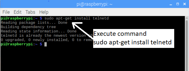 install telnet on raspberry pi