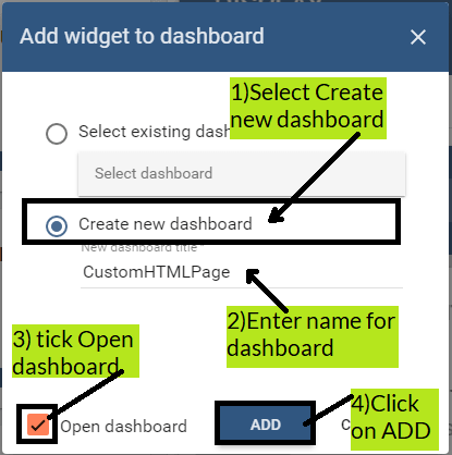 create dashboard