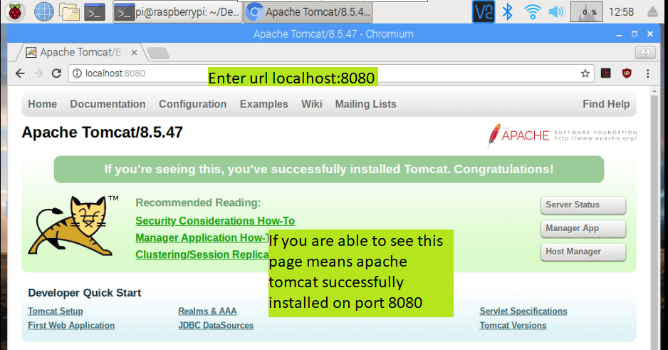 apache tomcat default page on raspberry pi
